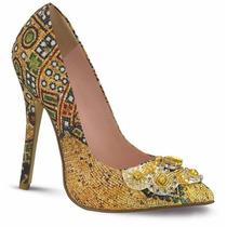 Hermosas Zapatillas Andrea Amarillas Con Pedreria En Punta