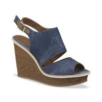 Zapato Sandalia Andrea 213-1887 Azul Mezclilla Cuña