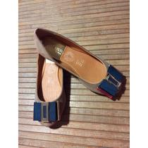 Zapatos Flats Beige Con Moño Color Verde