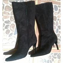 Botas Negras De Gamuza Y Zapatos Rojos, Todo Como Lote