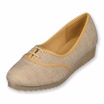 Zapatos Tipo Oxford Color Crudo Y Mezclilla Con Plataforma