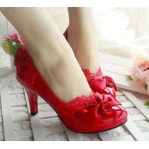 Zapatilla Super Sexy Y Muy Romantica Color Rojo En Charol