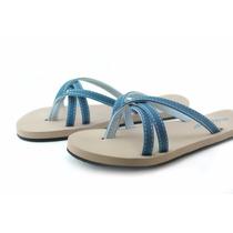 Sandalias Color Azul Con Correa Textil Para Mujer
