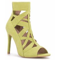Zapatillas Andrea Tipo Botines Verde Limon Tipo Gamuza Tacon