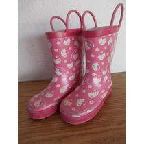 Botas Para Lluvia De Niña Hello Kitty Talla 9/10 #a267