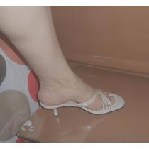 Zapatillas De Boda Blancas Abiertas Tiritas De Piel 5.5 Mex