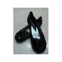 #1 Flats Negros Talla 3.5 Piel Niña Dama Zapatos Calzado