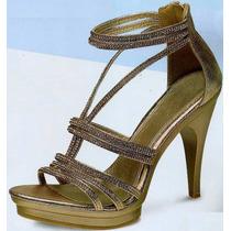 Sandalias Metalicas, Platino 12 Cm