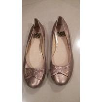 Zapatos Flats Color Dorado T-5 Piel