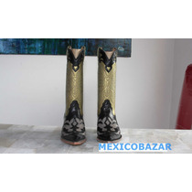 Botas Para Mujer Modelo Texano, Color Negro On35.5