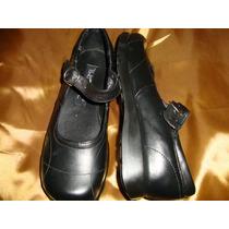 #26 Zapato Escolar De Piel Negro Para Dama Cynld