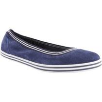 Flats Zapatos Tenis Nautica Originales Gamuza Azul Negro Dam