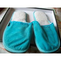 Lindas Pantunflas De Borrega Azul Nuevas Limpia De Closet
