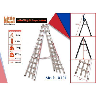 Escalera telesc pica skyscraper aluminio mxz 21 10121 for Precio escalera telescopica aluminio