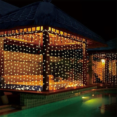 Cortina luces led 3x3 fiesta navidad eventos jardin patio for Luces led jardin