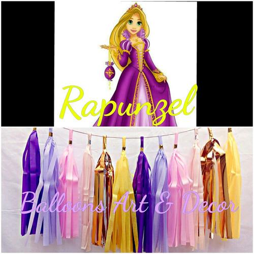 Guirnalda Rapunzel 12 Motitas Morado, Lila, Amarillo, Dorado