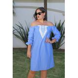 Vestido Azul Tipo Mezclilla, Bordado Etnico Blanco Con Azul