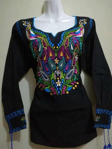 Vestido Bata Artesanal De Manta Bordado A Mano En Zinacantán