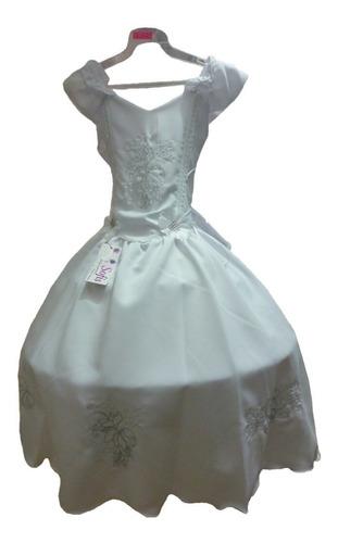 Vestido Blanco Para Comunion Confirmacion Bautizo Reina En