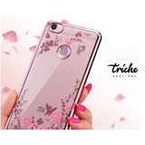 Funda Case Flores Pedrería Color Rosa Xioami Note 5A Prime