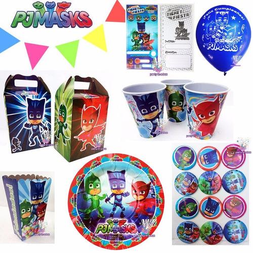 7d90199d96 Pj Masks Platos Dulceros Vasos Globos Fiesta Héroes Pijamas en venta ...