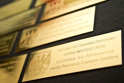 Placa Metálica Grabada 8x3 Cm Dorada Trofeos Reconocimientos