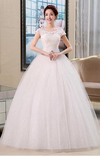 Vestido Novia Princesa Cinturón Pedrería Corset Manguita En