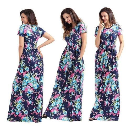 Vestidos Largos Tallas Extras Plus Floreados Moda Casual En