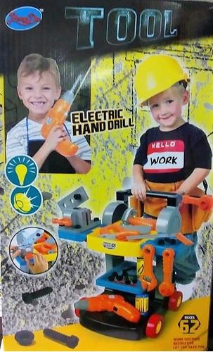 Mesa Movil De Herramientas Para Niños Con Taladro Eléctrico