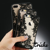 Funda Case Flores Vintage Negro Iphone 7 Triche