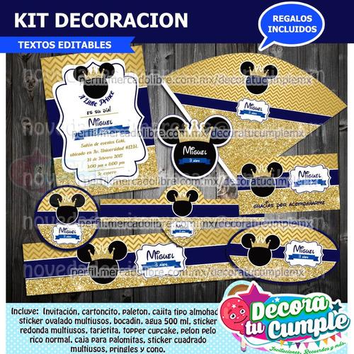 Kit Imprimible Mickey Príncipe Corona Dorado Decoración E44