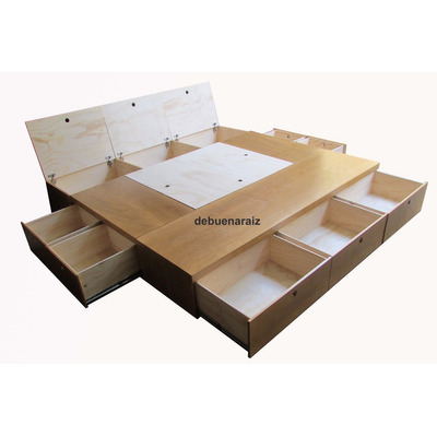 Base cama beta4 king size recamara minimalista cajones for Base para cama queen size minimalista