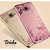 Funda Flores Pedrería Flores Rosa Dorado Huawei P9 Lite 2017