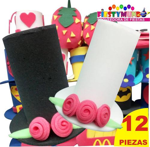 12 Sombreros Hule Espuma Boda Xv Fiesta Batucada Hora Loca