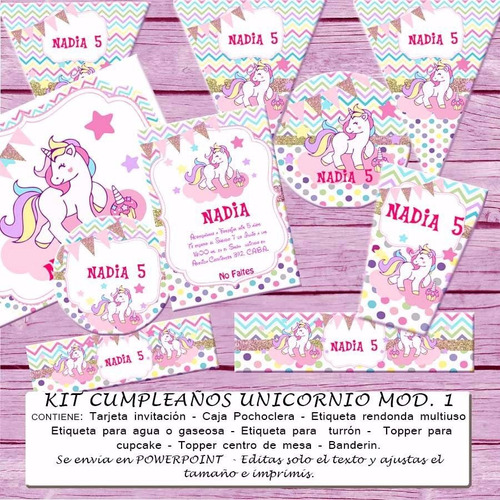 Kit Imprimible Unicornio Decoración Invitación Arcoiris T01