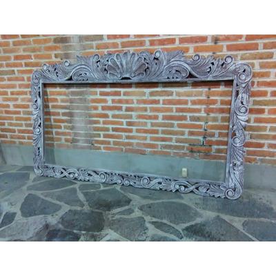 Marco para espejo vintage tallado en madera decapado for Marco espejo vintage