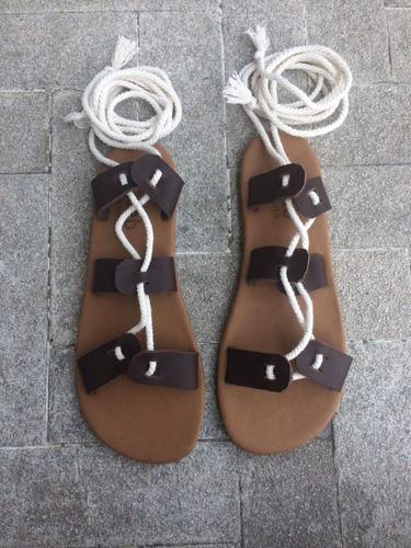 Sandalias Tipo Gladiador De Cuero 5