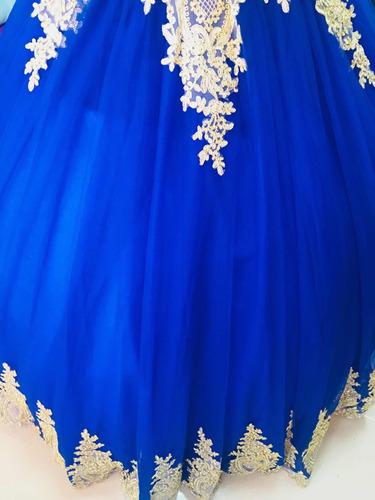Vestido De Xv Años 15 Quince Encajes Bordados Azul Rey En