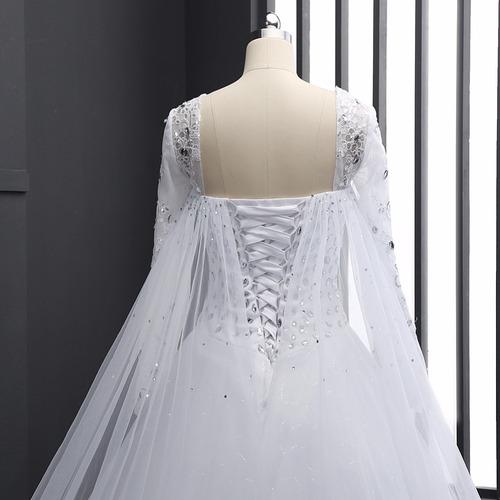 Vestido Novia Bonito Encaje Fino Barato Manla Larga Dress 93