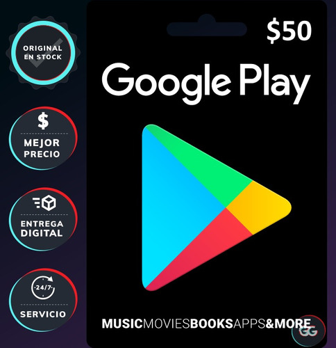 Tarjeta Con Clave Para Google Play 50 $, Clave Digital (pc)