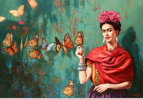 Cuadro Frida Kahlo Mariposas Arte Tipo Oleo Calidad Hd 100cm