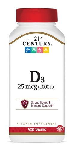 Vitamina D3 Premium 25 Mcg 1,000iu 500 Tabletas Eg D67