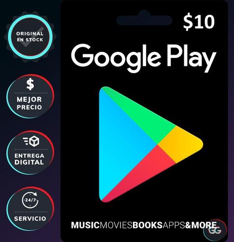 Tarjeta Con Clave Para Google Play 10 $, Clave Digital (pc)