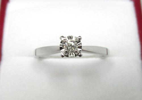Anillo Compromiso 14k Diamante Natural .10 Puntos G Vvs1