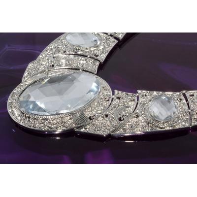 Collar Moda Plateado Medialuna Cristal Biselado Aretes