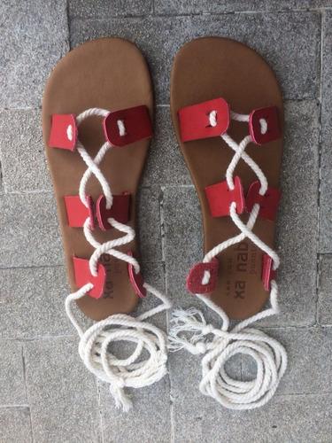 Sandalias Tipo Gladiador De Cuero