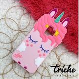 Funda Botarga Diseño Unicornio Pestañas Rosa Galaxy S9