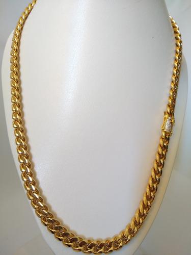 Cadena Para Hombre Eslabón Cubano Oro Laminado 18k Zirconias