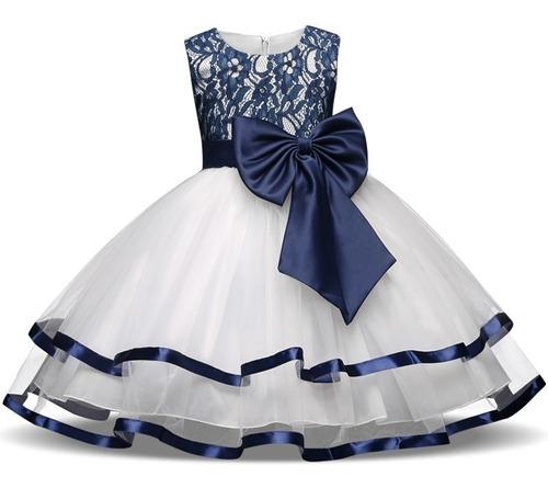 Vestido Niña Fiesta Cumpleaños Tul Listón Blanco Azul En