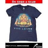 Playera Oficial Vive Latino 2017 Azul para Dama